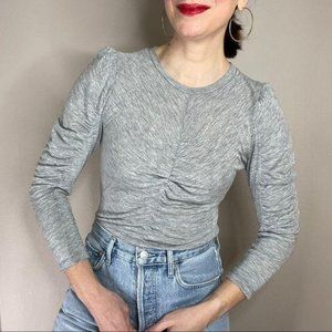 Rebecca Taylor shirred puff sleeve fitted knit top
